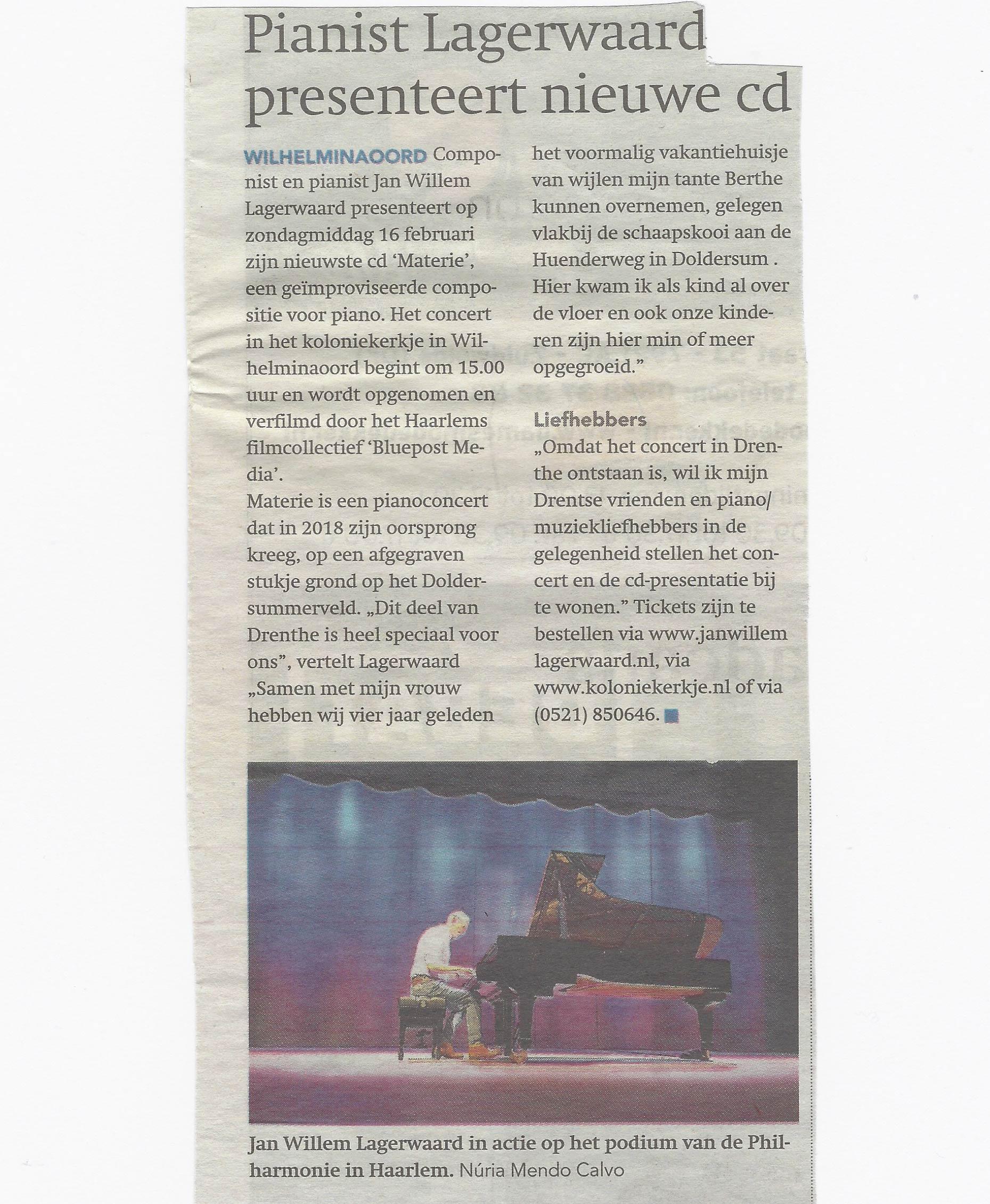 Pianist Lagerwaard presenteert nieuwe cd