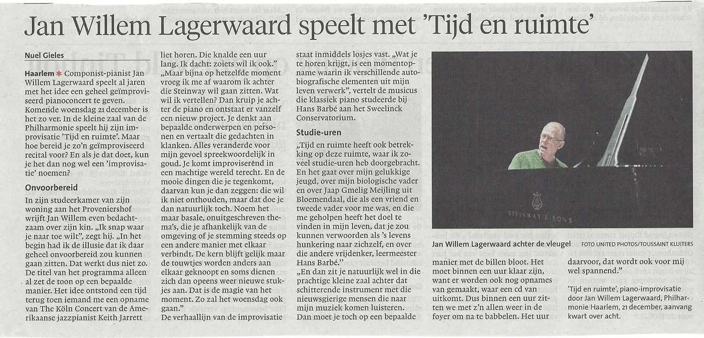 Jan Willem Lagerwaard speelt met 'Tijd en Ruimte'